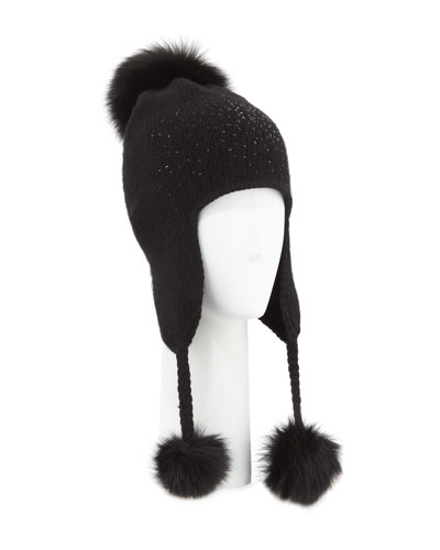 Cashmere Crystal-Embellished Trapper Hat w/ Fur Pompoms