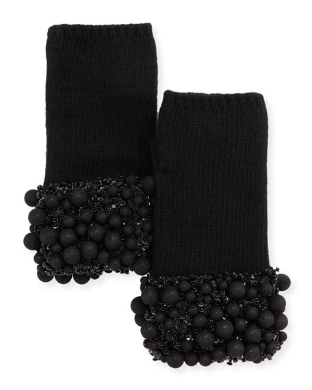 Ball & Crystal Cuff Fingerless Gloves