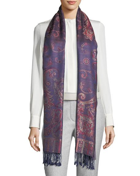 SABIRA Fantasia Paisley-Print Silk Shawl in Purple/Red