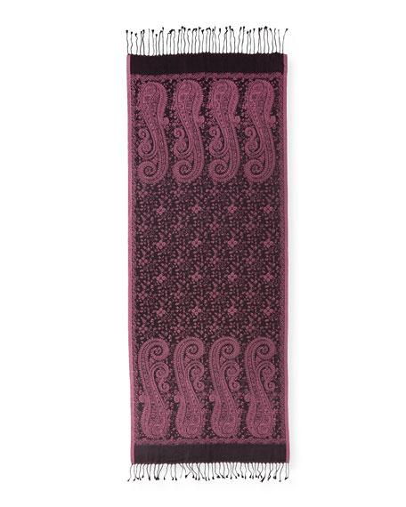 Caspia Paisley-Print Silk Shawl