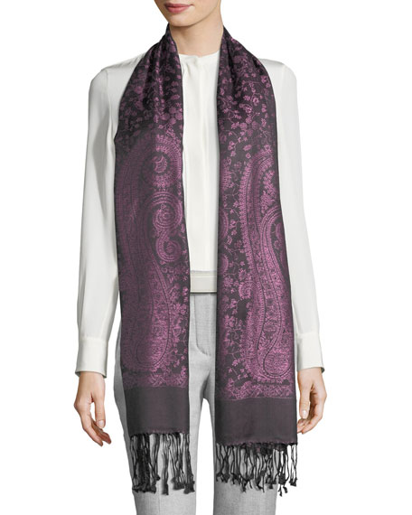 SABIRA Caspia Paisley-Print Silk Shawl in Purple/Black