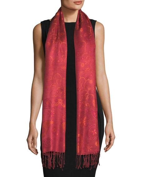SABIRA Lillia Paisley Silk Shawl in Red/Pink