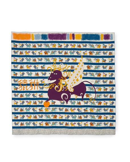 Pixiu Silk Printed Scarf