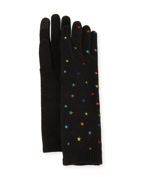 Open-Knit Star Cashmere Gloves