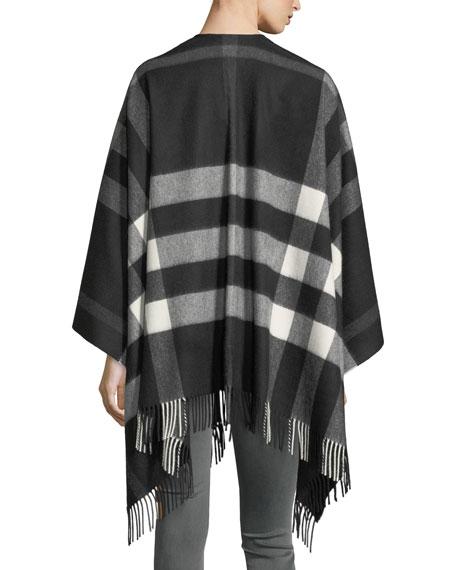 Collette Cashmere-Merino Wool Check Fringe-Trim Cape, Black