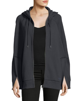 Hooded Jersey Cape, Navy