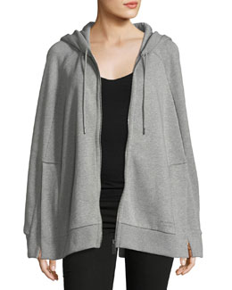 Hooded Jersey Cape, Gray