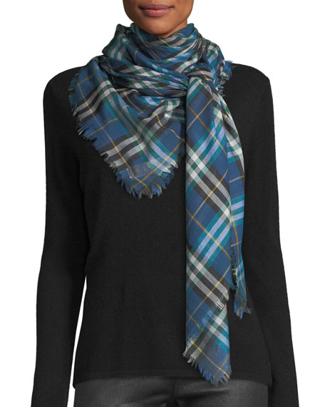 Castleford Lightweight Check Scarf, Blue