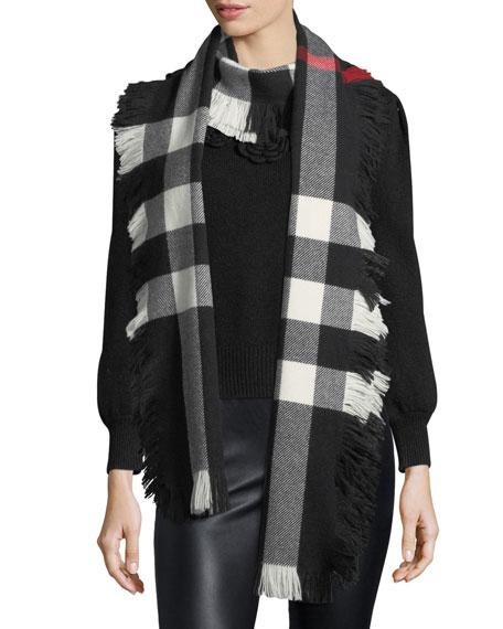 Half Mega Check Fashion Fringe Wool Scarf, Black