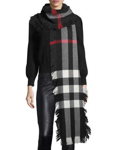 Half Mega Check Fashion Fringe Wool Scarf, Black