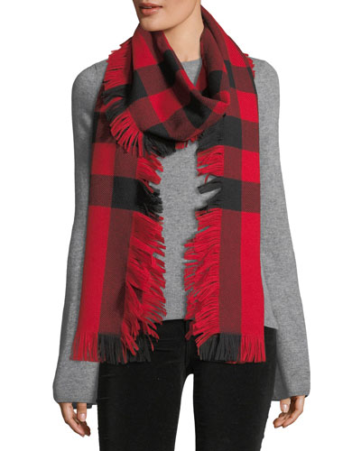 Half Mega Fashion Plaid Fringe Scarf