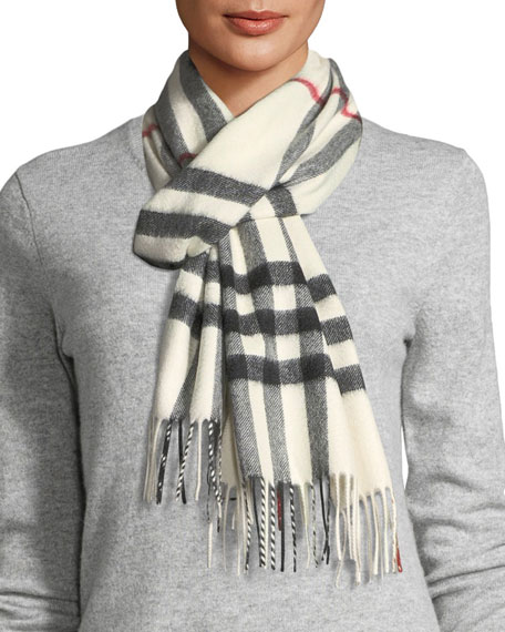 a082bb2d2810 Burberry Giant-Check Cashmere Scarf, White