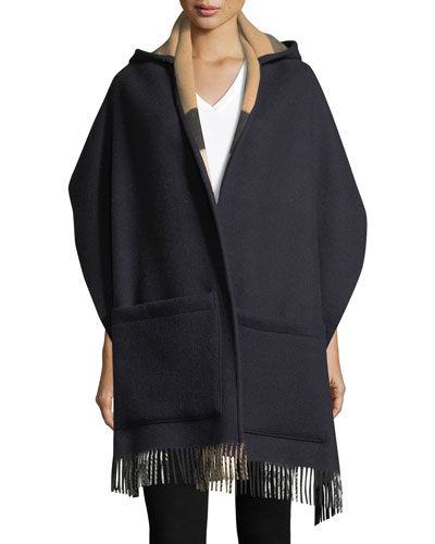 Helene Wool-Cashmere Hooded Stole