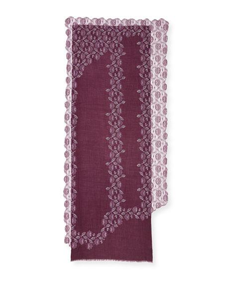 Lace-Trim Evening Stole/Wrap, Plum