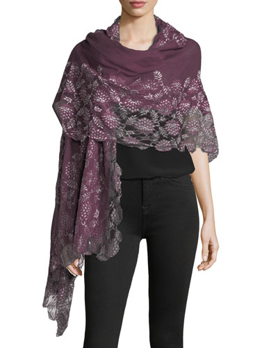 Lace-Trim Evening Stole/Wrap, Plum