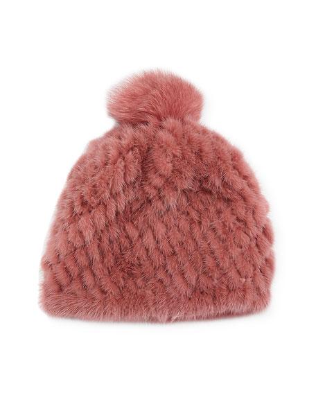 Knitted Fur Hat w/ Pompom