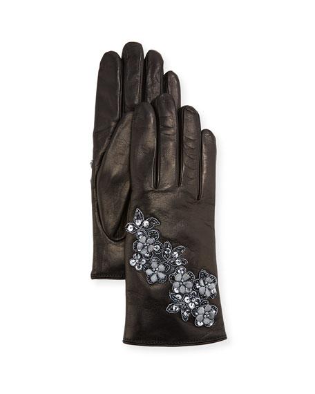 GUANTI GIGLIO FIORENTINO Floral Applique Leather Gloves in Black