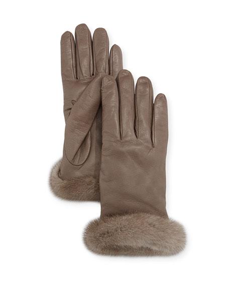 Leather Gloves w/ Mink Fur Cuffs