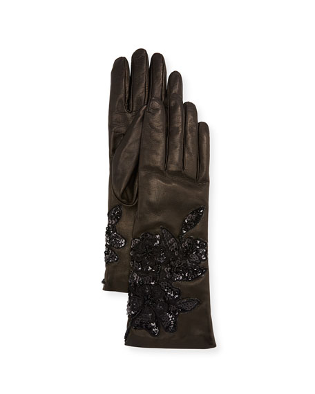 Image 1 of 1: Sequin Roses Leather Gloves