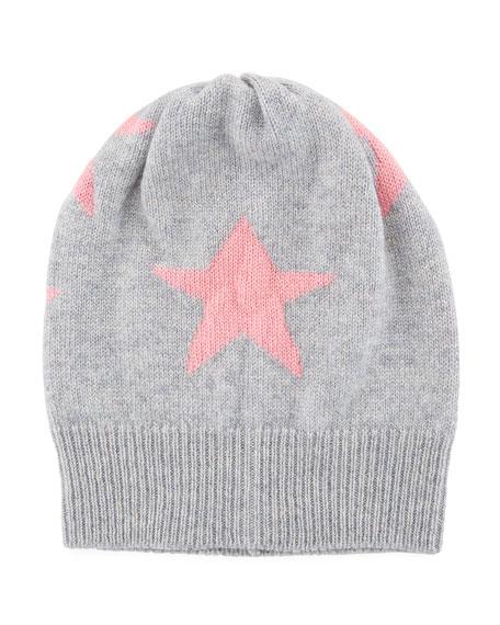 Cashmere Star Beanie Hat, Gray/Pink