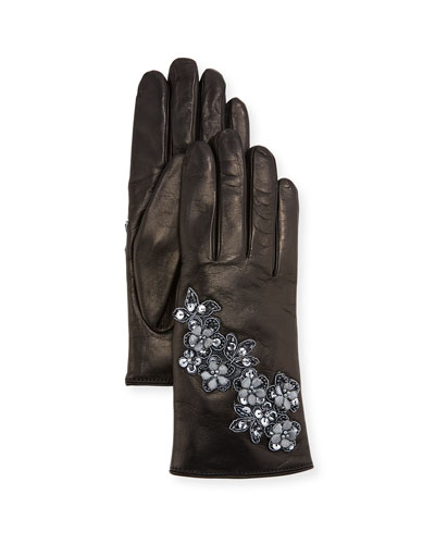 Floral Applique Leather Gloves
