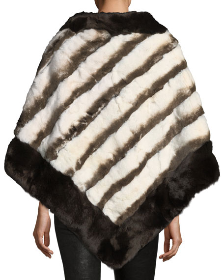 Stripe Fur Poncho, Brown/White
