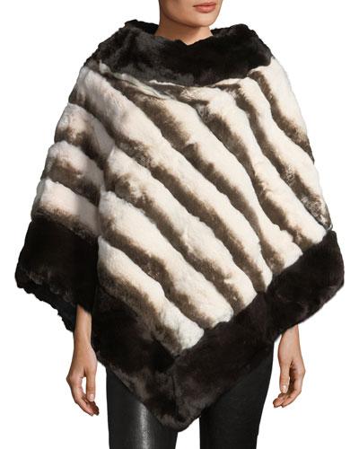 Stripe Fur Poncho, Brown/White