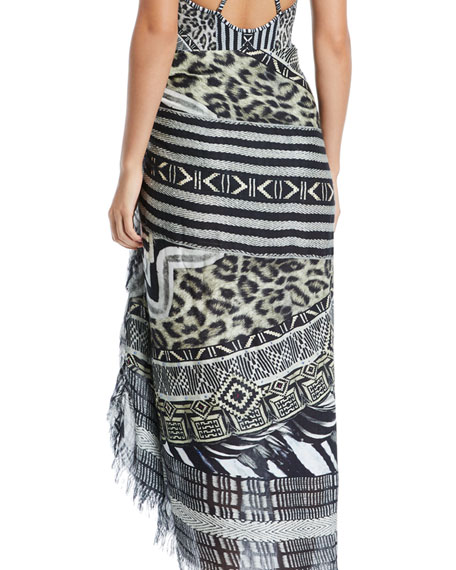 Printed Square Scarf Skirt with Raw Edges