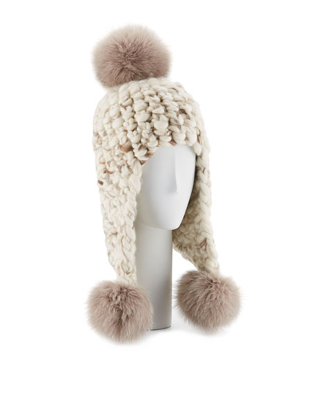 Mischa Lampert Triple Fur Pompom Trapper Hat, White