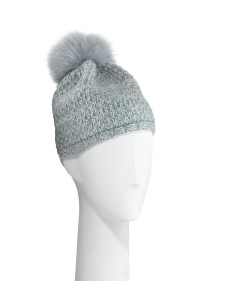 Cashmere Knit Beanie w/ Fur Pompom