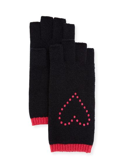 Fingerless Gloves w/ Heart Embroidery