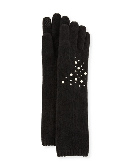 Cashmere Open Knit Embellished Gloves