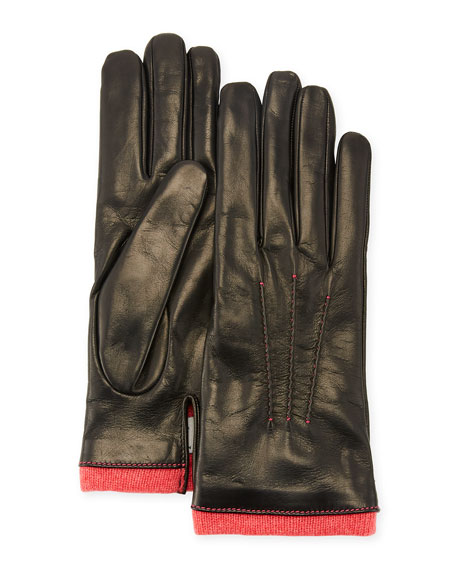 Leather Gloves w/ Cashmere Trim
