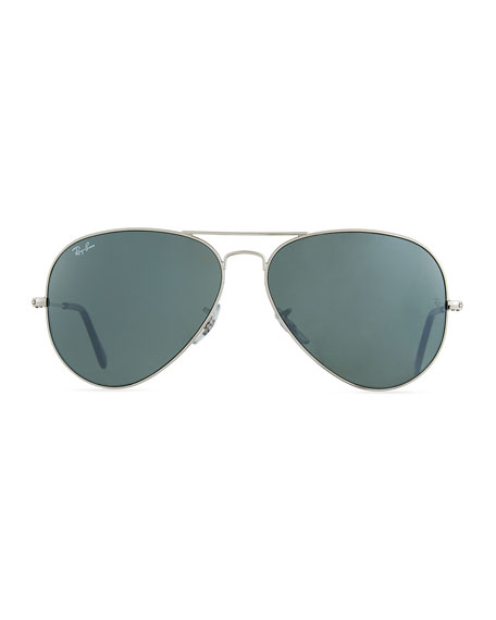 Cry Mirrored Aviator Sunglasses, Silver