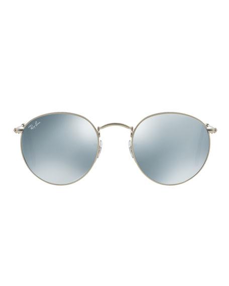 Round Mirrored Sunglasses, Gray