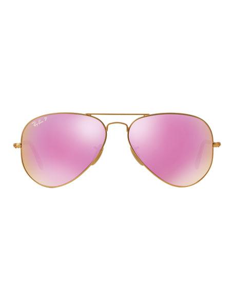 Mirrored Polarized Metal Aviator Sunglasses, Pink Pattern