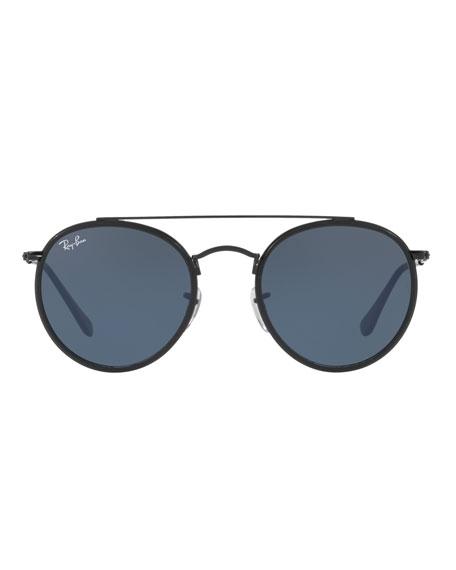 Monochromatic Round Metal Sunglasses
