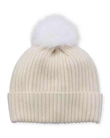 Sequin Knit Hat w/ Fur Pompom, Ivory