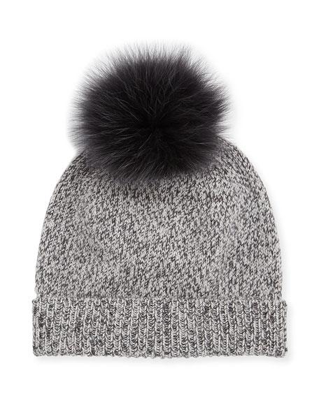 Marbled-Knit Beanie Hat w/ Fur Pompom