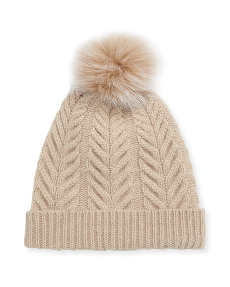 Staghorn Cable Knit Hat w/ Fur Pompom, Beige