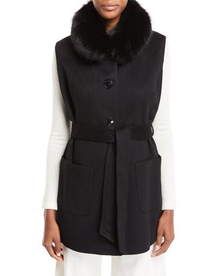 Cashmere Vest & Detachable Cape w/ Fur Collar