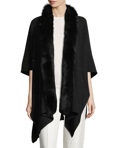 Cashmere-Blend Sequin Ruana Wrap w/ Fur Trim