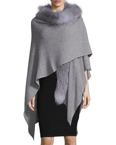 Cashmere-Blend Sequin Ruana Wrap w/ Fur Trim
