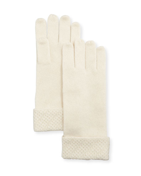 Touch-Screen Gloves w/ Honeycomb-Knit Cuffs