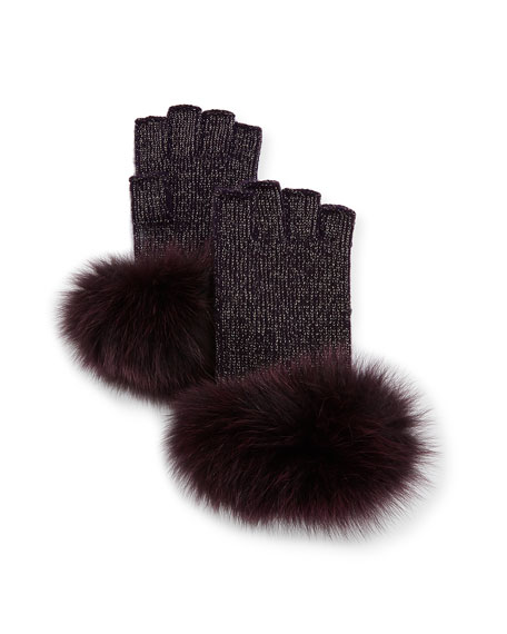 Sofia Cashmere Lurex® Knit Fingerless Gloves w/ Fur