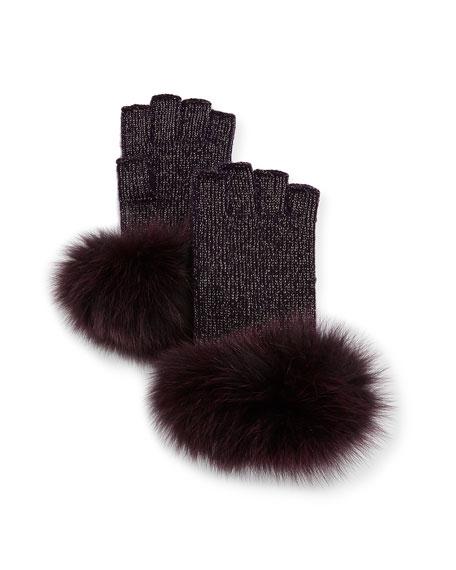 Lurex® Knit Fingerless Gloves w/ Fur Cuffs