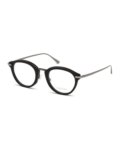 Oval Matte Acetate & Metal Optical Frames, Black