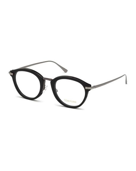 Oval Matte Acetate & Metal Optical Frames, Black