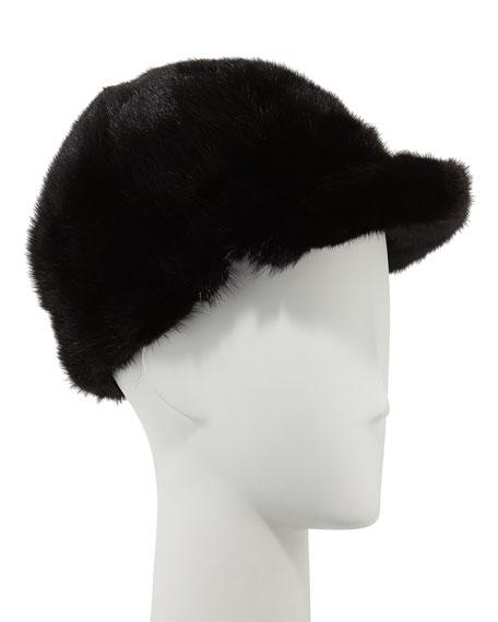 Mink Fur Jockey Hat, Black