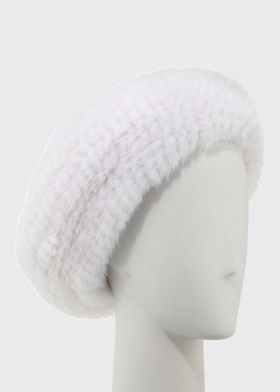Mink Fur Knit Beret